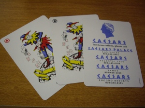 Caesars : The Jokers and ad card.